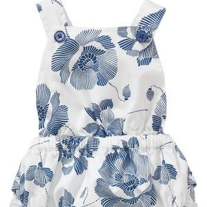 Old Navy blue floral ruffle butt romper new